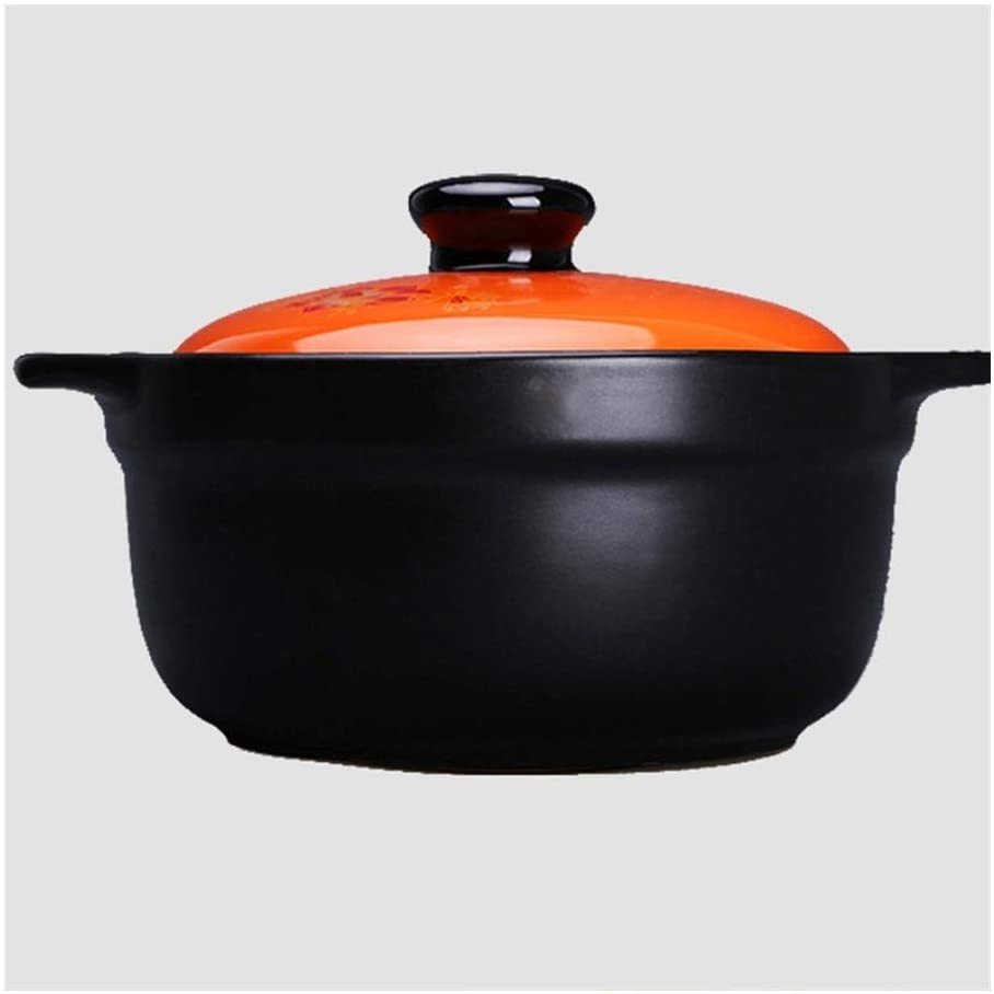 GMING Ceramic Cookware Casserole Cookware Dutch Oven, High Temperature Firing Safe And Durable Good Nutrition Uncoated Non-stick Pan Easy To Clean (Color : A, Size : Capacity 2.8L)