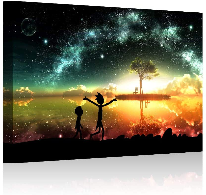 HAOSHUNDA HSD Wall Art Rick and Morty Posters On Canvas Oil Painting Posters and Prints Decorations Wall Art Picture Living Room Wall Ready to Hang 12 x 18 16 x 24 (16x24x1, Artwork-3)