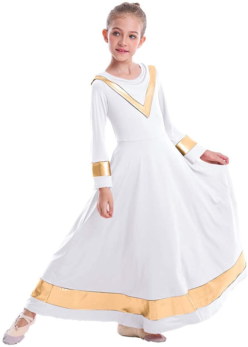 IBAKOM Kids Girls V-Neck Worship Robe Liturgical Praise Dance Dress Metallic Loose Fit Full Length Dancewear Tunic Costume