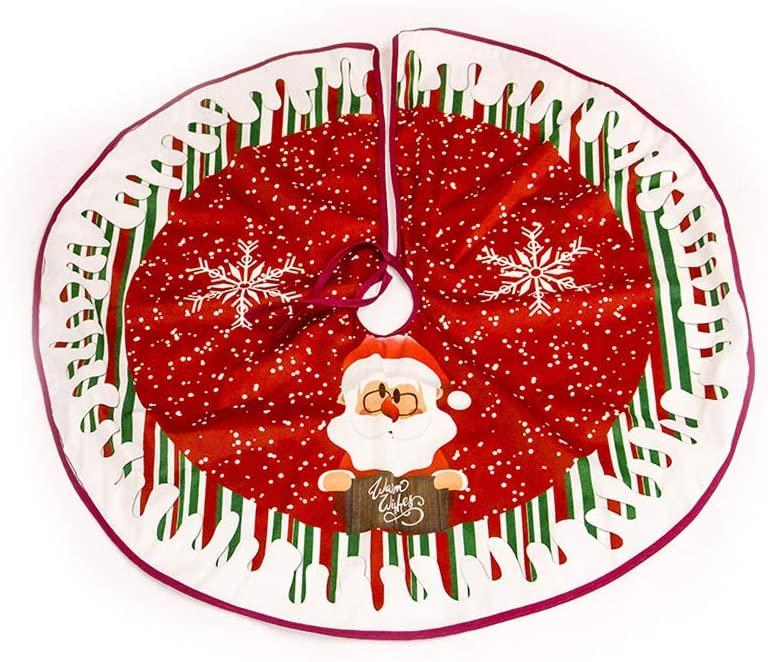 Christmas Tree Skirt Mat Christmas Holiday Decorations 35 Inches Xmas Holiday Tree Skirt Ornaments Christmas Party Home Decorative Tree Skirt (Elk & Santa Style)