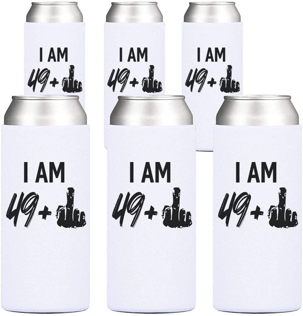 50th Birthday Party Cooler- 49 + 1 Middle Finger, 12 oz Slim Can Cooler, Gifts for Women Turning Fifty, Cheers to 50 Years – Set of 6