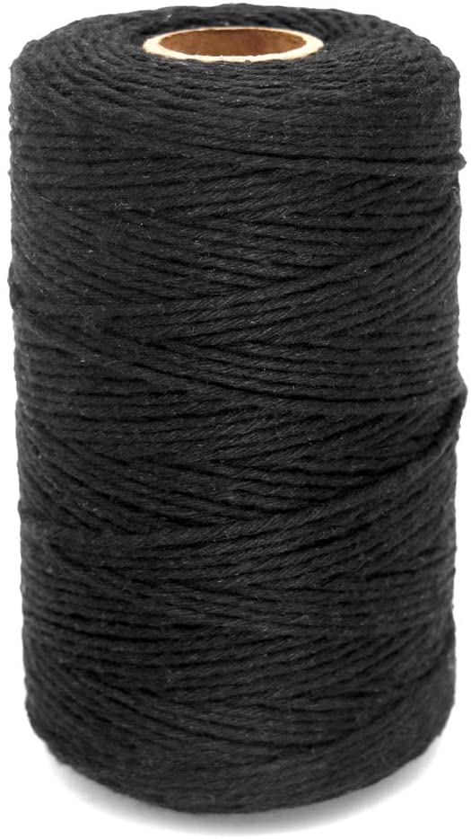 Black Twine String,Cotton Bakers Twine 656 Feet Cotton Cord Crafts Gift Twine String Christmas Holiday Twine