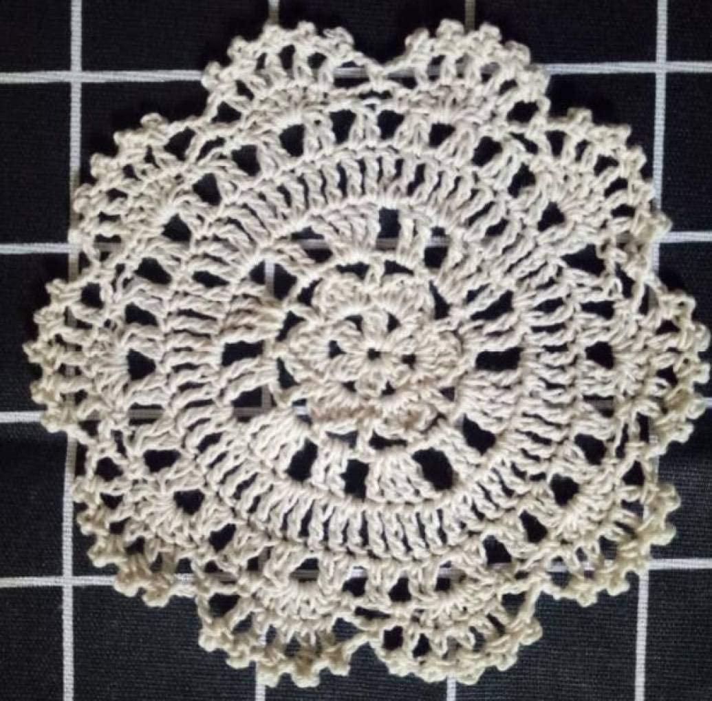 LUCACO Handmade Lace Round Crochet Doilies Coasters,5Pcs/Set,Round Shaped Handmade Cotton Crochet Doilies