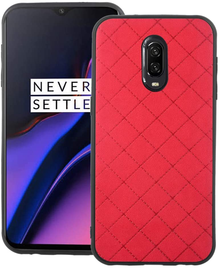 Phone Case for Oneplus 6T Slim Soft Rubber Case,Shock Resistant Rugged Lightweight Flexible Anti-Slip Slim Fit Full Body Protective Rubber Phone Cover for Oneplus6T 1 One Plus 1plus One+ 1+ Red