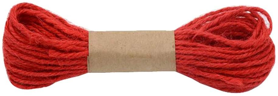 Creative Multi-Purpose Colored Jute Rope Durable Hand Woven Natural Rope,Red