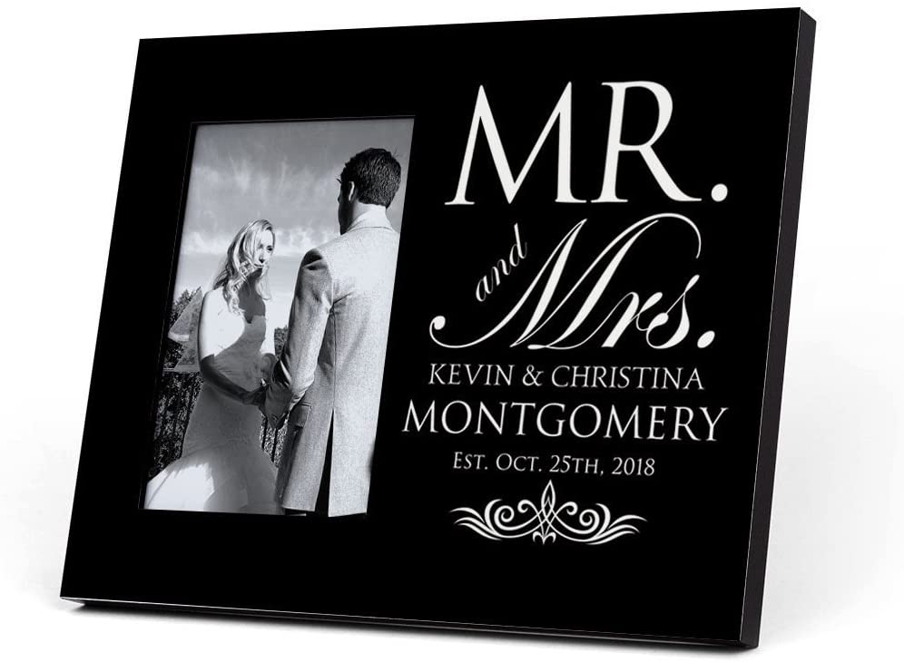 ChalkTalkSPORTS Personalized Photo Frame | Our Wedding Day Cheers | Black