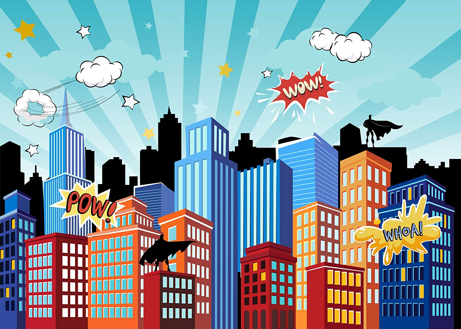 Superhero Photography Backdrop Cityscape Photo Background for Newborn,Childs Birthday Party Decorations Studio Props,7x5ft