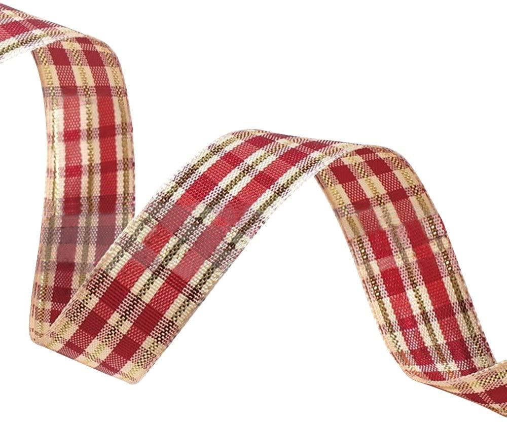 Ornerx Grosgrain Ribbon Plaid Red Golden 1