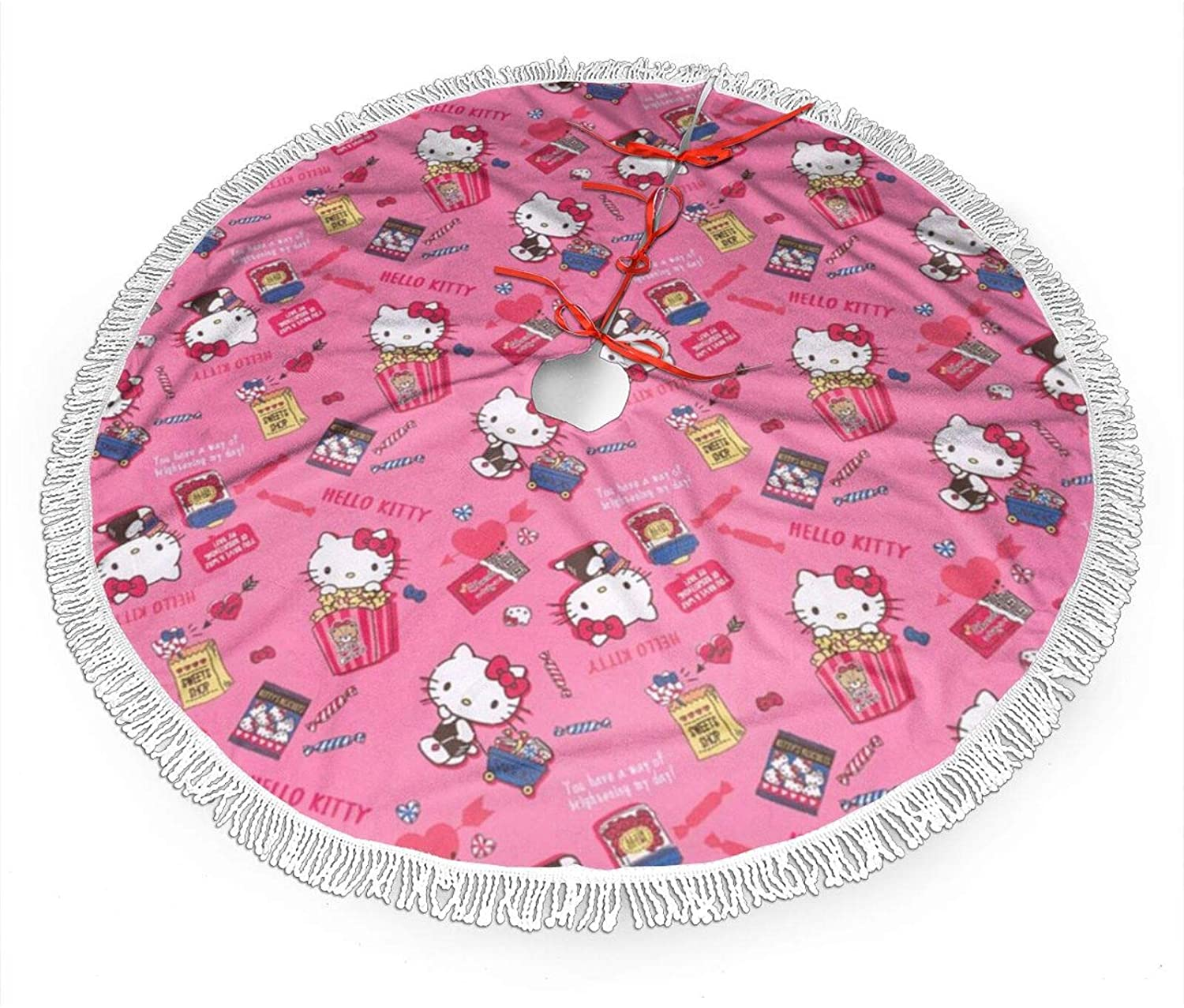 Nyf Hello Kitty Christmas Tree Skirt with Fringe Mat Xmastree Skirt for Party Holiday Decorations 30