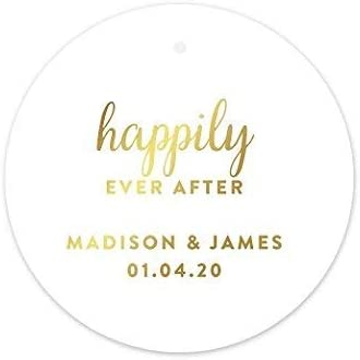 Andaz Press Personalized Round Circle Wedding Gift Tags, Metallic Gold Ink, Happily Ever After, 24-Pack, Custom Made Any Name