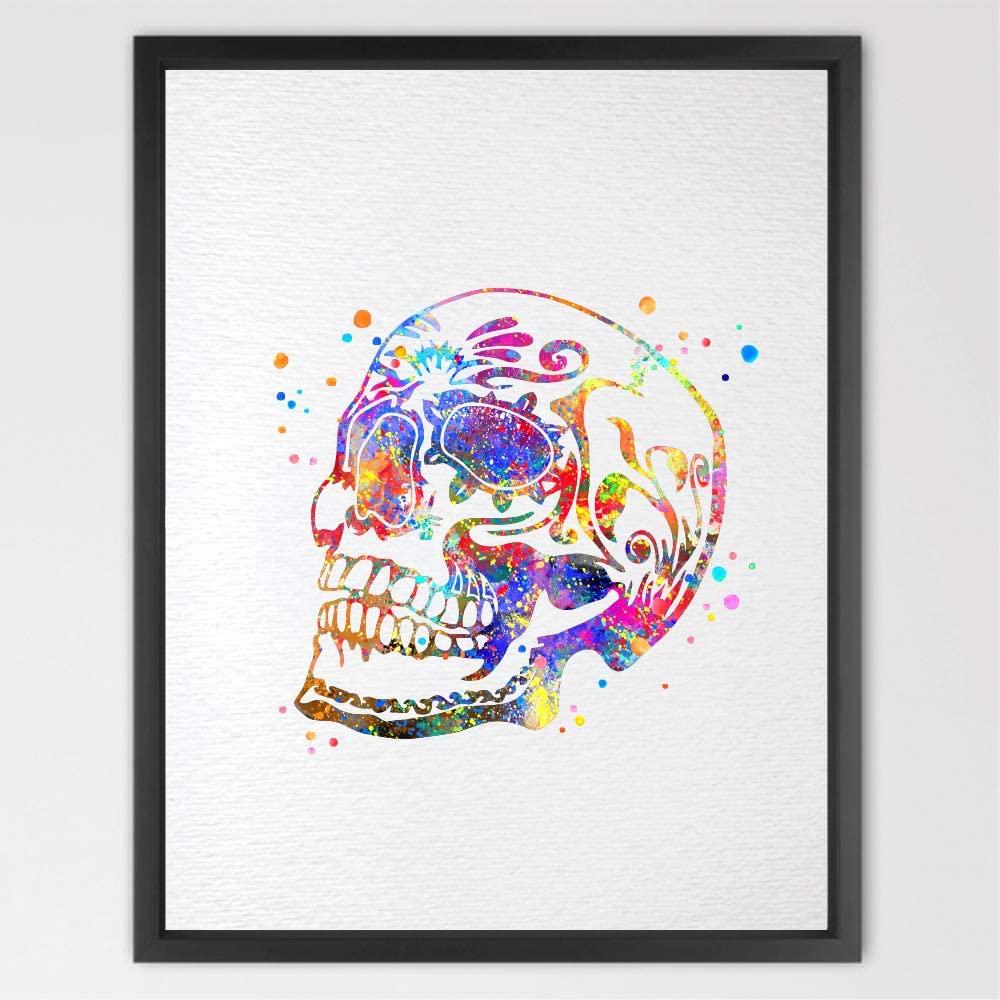 Dignovel Studios 11X14 Unframed Sugar Skull Day of The Dead Inspired Watercolor Illustrations Art Print Wall Art Poster N111