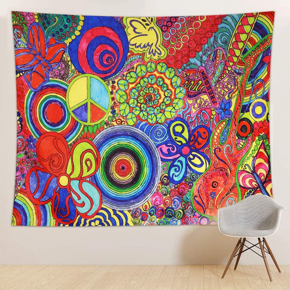 RUIFUU Tie Dye Tapestry Psychedelic Hippie Tapestry Bohemian Floral Tapestries Trippy Wall Hanging for Bedroom Living Room Dorm, 51x59