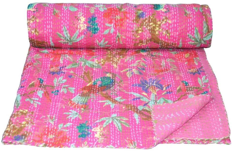 V Vedant Designs Bird Print Queen Kantha Quilt Twin Throw Blanket Bedpsread Indian Throw Vintage Quilt 90X60 Inch, Pink
