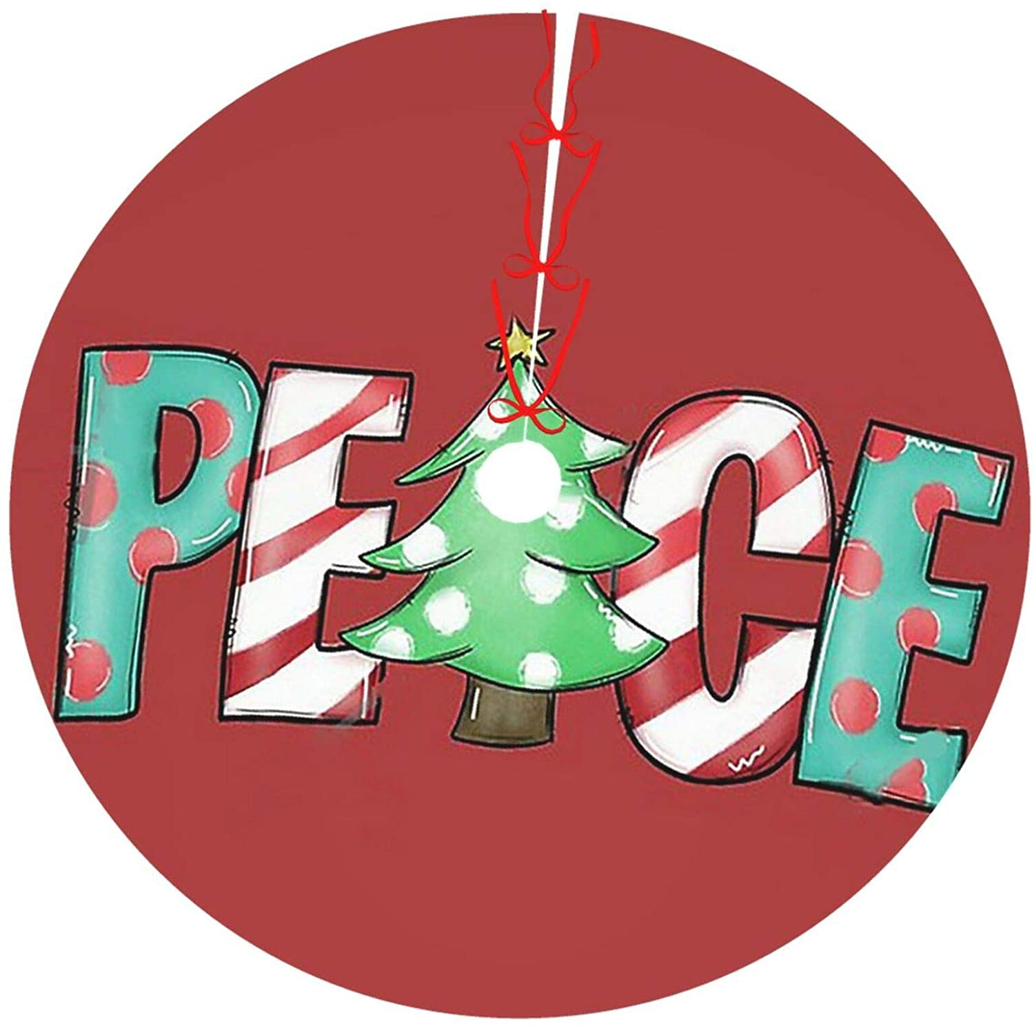 Hhjszj Christmas Peace Christmas Tree Skirt - Tree Skirts for Holiday Party Christmas Decorations Indoor Outdoor
