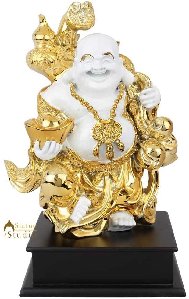 Statuestudio Polystone Laughing Buddha Statue for Home Decor Diwali Office Corporate Gift Showpiece White Gold (6 × 6 × 11 Inches)