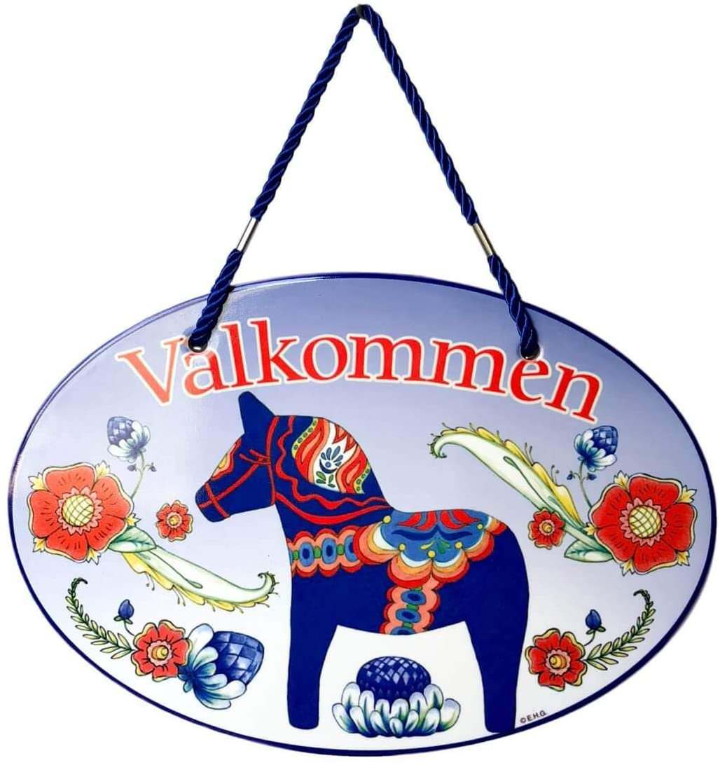 Valkommen with Classic Artwork of Blue Swedish Dala Horse Welcome 11x8 Ceramic Door Sign by E.H.G.
