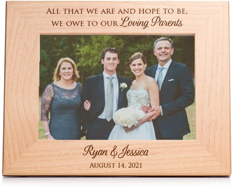 Lifetime Creations Personalized Wedding Picture Frame for Parents of Bride and Groom: Personalized Wedding Gift for Parents, Engraved Wedding Frame Holds 5