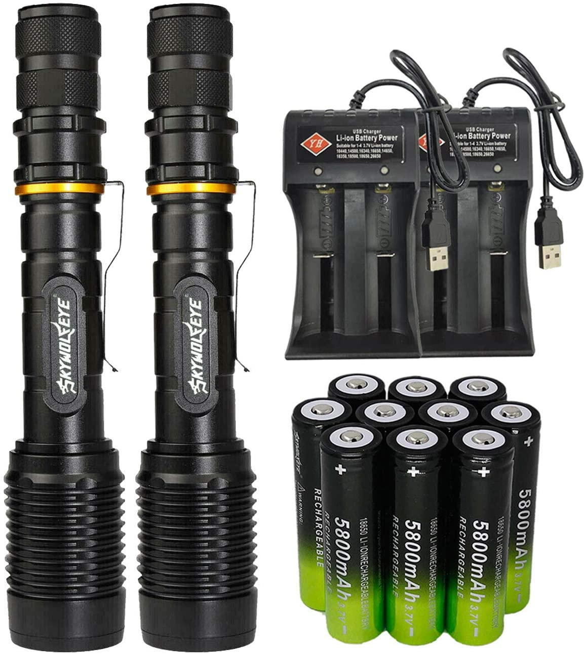 2 Packs High 2000 Lumens 18650 Tactical LED Flashlight Torch with 10PCS 3.7v High Capacity Rechargeable Battery&2PCS 2 Slots Charger, Bright Adjustable Focus and 5 Modes for Camping Hiking