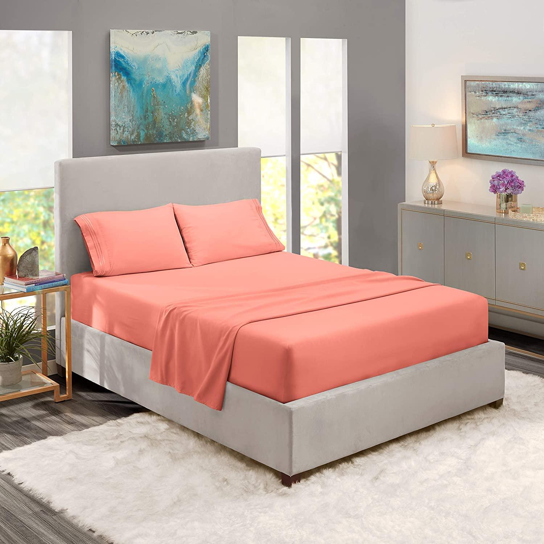 Nestl Bedding Soft Sheets Set – 4 Piece Bed Sheet Set, 3-Line Design Pillowcases – Easy Care, Wrinkle Free – Good Fit Deep Pockets Fitted Sheet – Full XL, Misty Rose