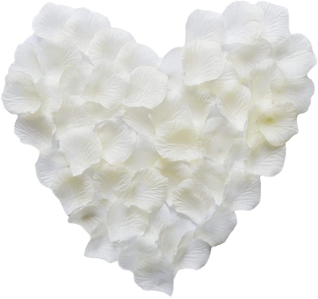 Qi xin 1000Pcs Rose Petals Artificial Flowers Wedding Party Bridal Shower Decoration Supplies Beige White
