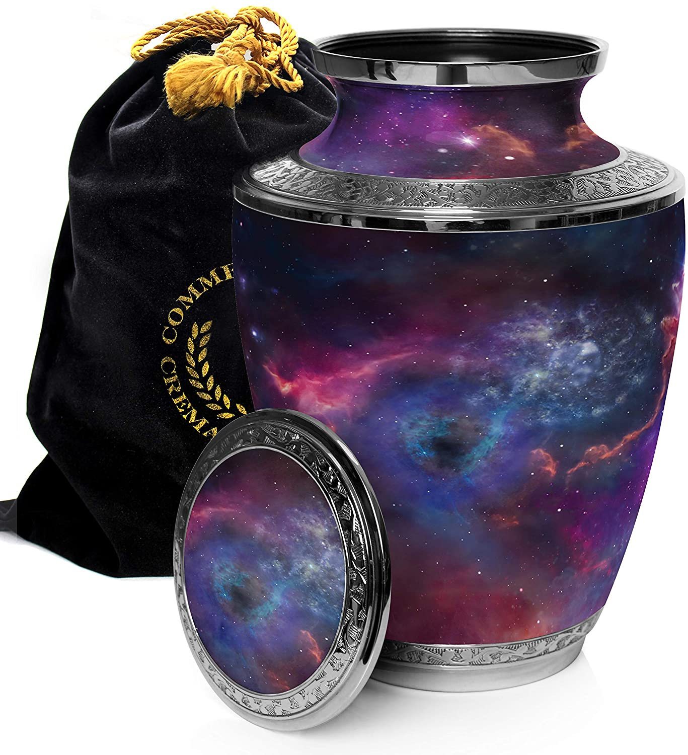 Cosmic Galaxy Universe Cremation Urns for Adult Ashes for Funeral, Niche or Columbarium, 100% Brass, Cremation Urns for Human Ashes Adult 200 Cubic inches (Interstellar Nebula, Large)