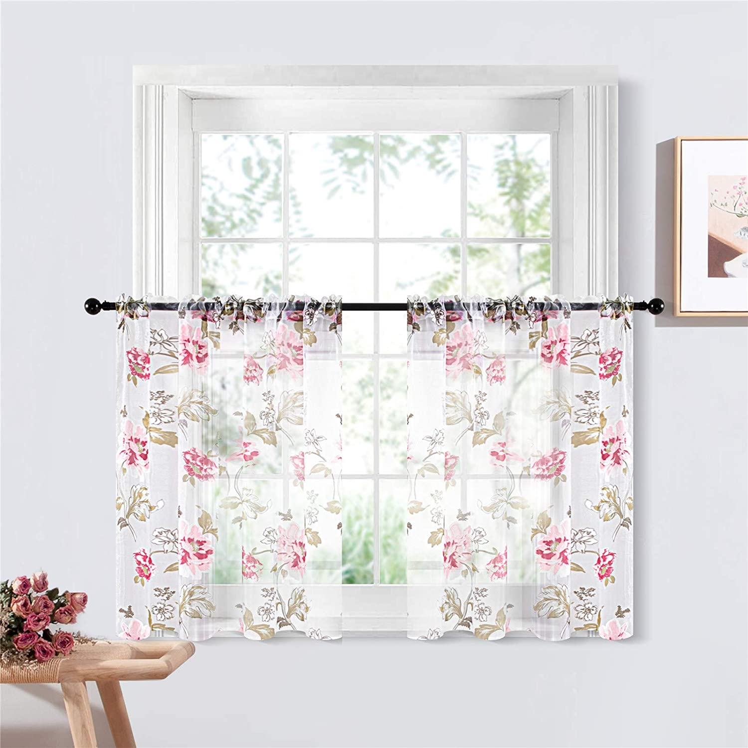 YOKISTG Pink Floral Sheer Kitchen Curtains 24 Inch Length Rod Pocket White Voile Tier Curtains for Cafe Basement Bathroom Small Window, 2 Panels