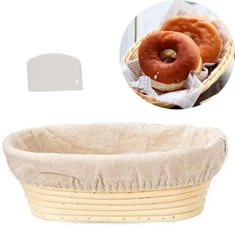 Bread Banneton Proofing Basket for Dough Rising Bread Proofing Basket Baking Dough Bowl,Oval,10 Inch