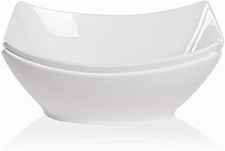 TGLBT Square Serving Bowls Porcelain,45-Ounce Bone China/Salad Soup Bowl-Set Of 2,White