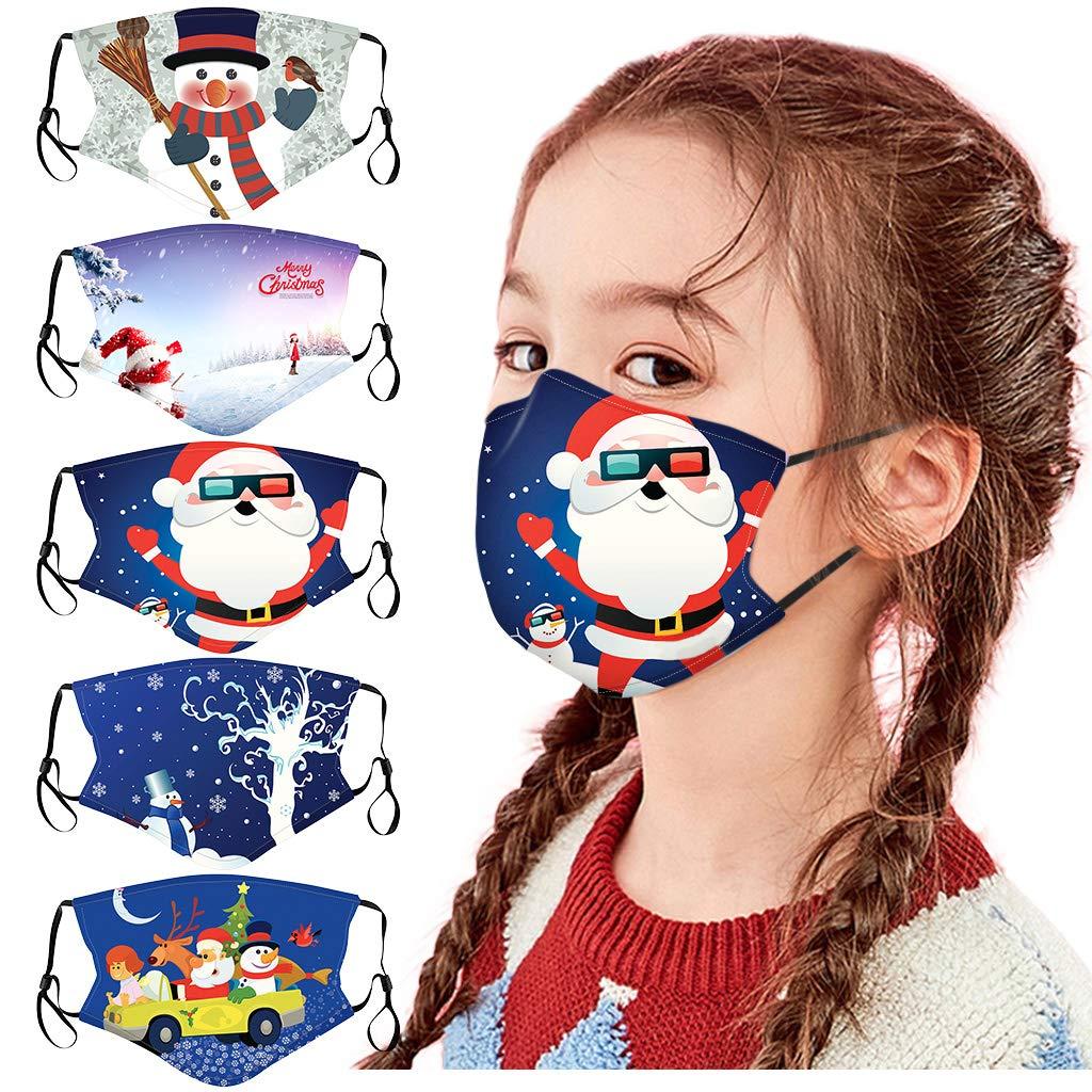 [US Stock] 5pcs Kids Christmas Mask,Reusable Children Face Protective,Anti-dust Adjustable Breathable Cute Face Bandanas (H-5PC)