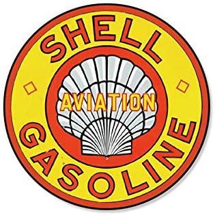 12x12 inch Aviation Gasoline Retro Round Metal Tin Sign Circular Wall Decor 30cm Diameter