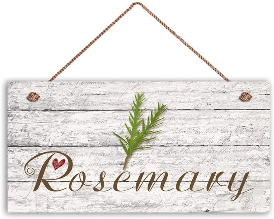 MAIYUAN Rosemary Sign, Garden Sign, Rustic Decor, Herb on Distressed Wood, 12x6 Sign, House Gift, Gift for Gardener(KJF2446)