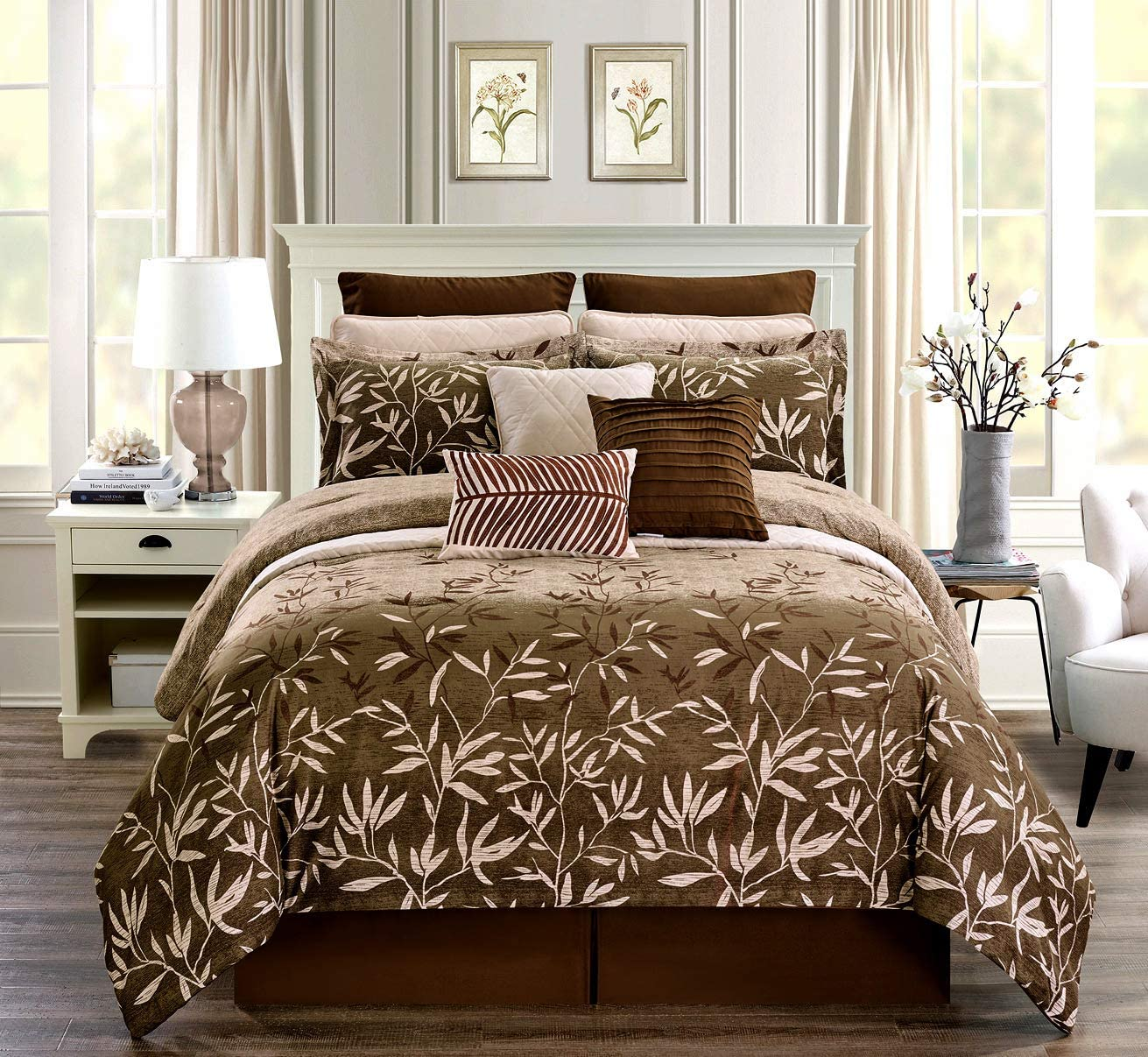 GrandLinen 9-Piece Twin Size Bamboo Print Luxury Primrose Bedding Chocolate Brown/Cream Taupe Comforter Set Bed in a Bag