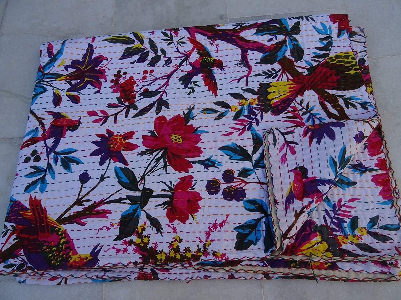 Janki Creation Bird Print King Size Kantha Quilt White Kantha Blanket, Bed Cover, King Kantha Bedspread, Bohemian Bedding Kantha Size 90 Inch X 108 Inch