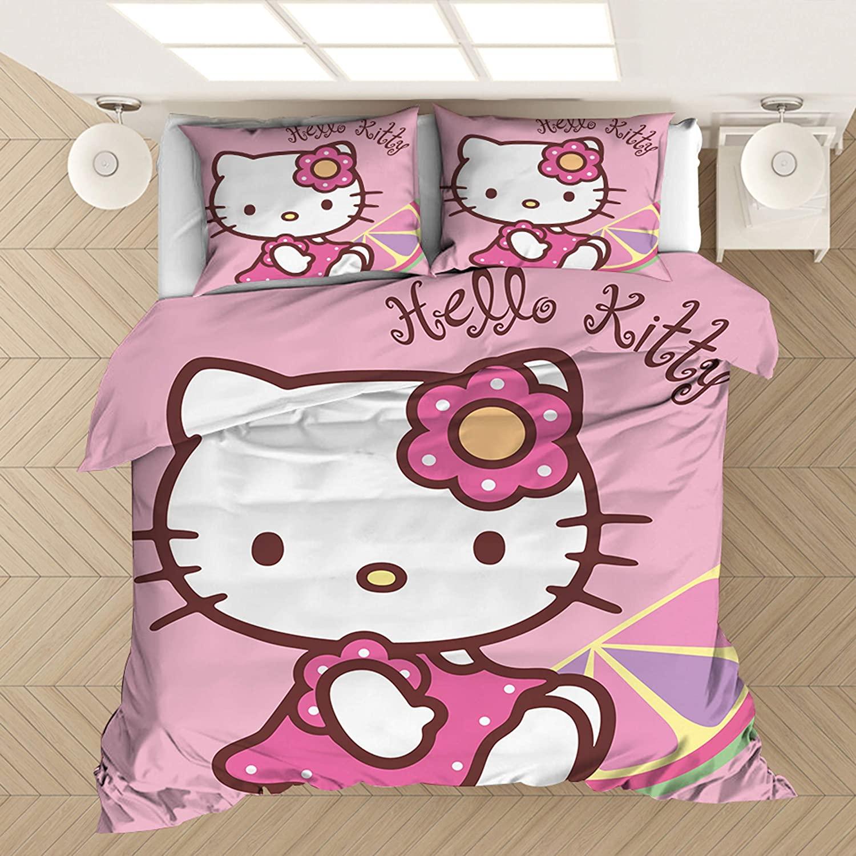 Yumhi Kids Bedding Set Teen Comforter Set Girls Children Bed Set Hello Kitty Duvet Cover and Pillowcase Full Size