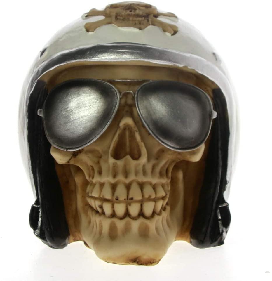 UKURO Skull with Pilot Helmet Statue Aviator Skeleton Figurine Halloween Decor Airplane Pilot Skull Sculpture Home Decoration