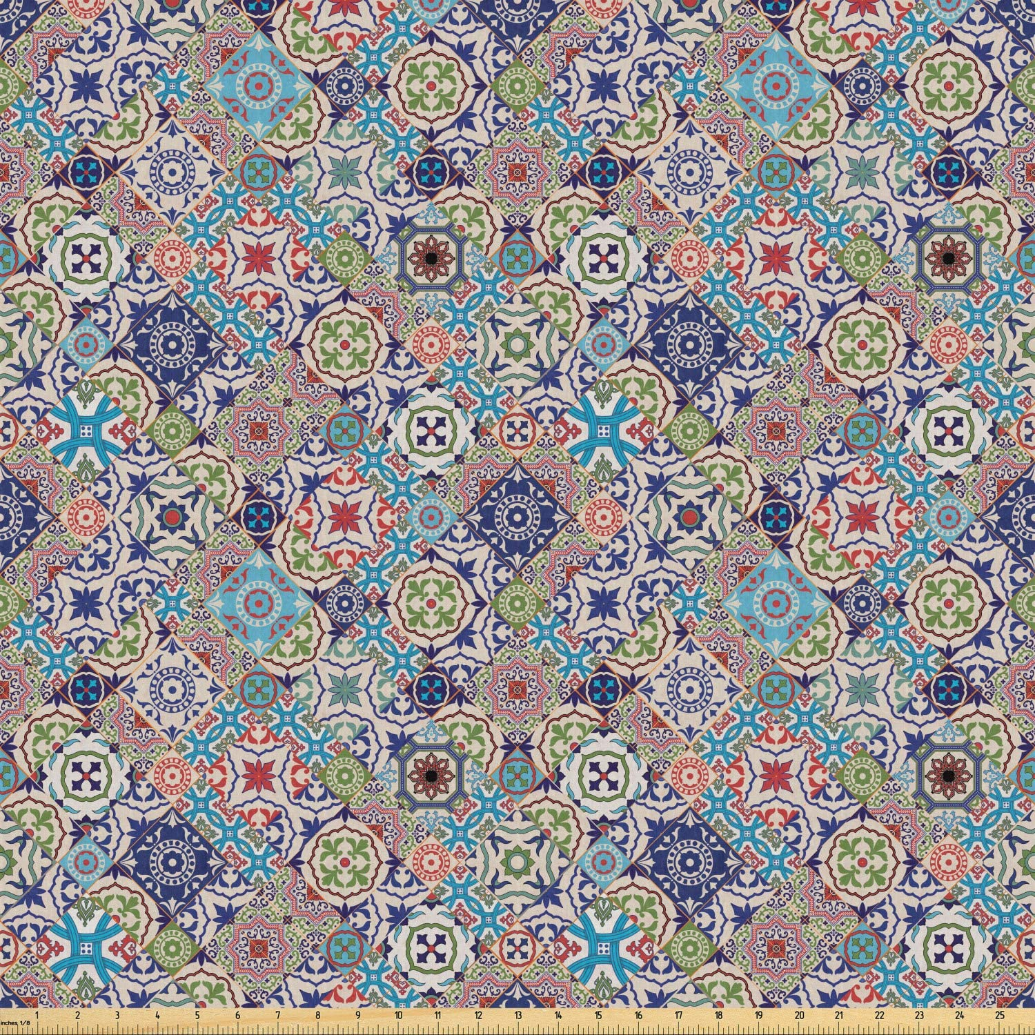 Ambesonne Moroccan Fabric by The Yard, Complex Colorful Moroccan Tile Motifs Antique Floral Ornaments Design, Stretch Knit Fabric for Clothing Sewing and Arts Crafts, 10 Yards, Multicolor