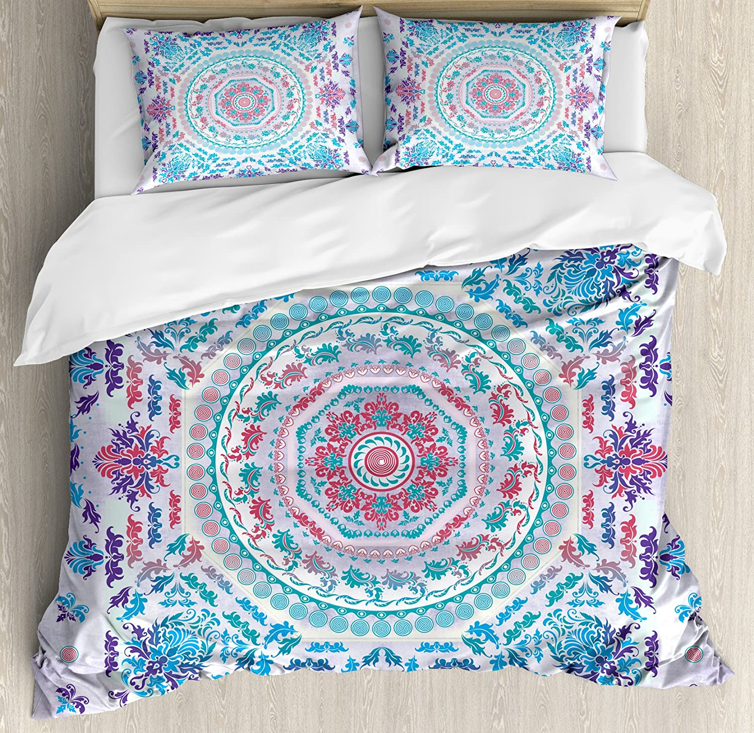Ambesonne Mandala Duvet Cover Set, Medallion Design Floral Patterns and Leaves Boho Hippie Style Prints, Decorative 3 Piece Bedding Set with 2 Pillow Shams, King Size, Turquoise Purple