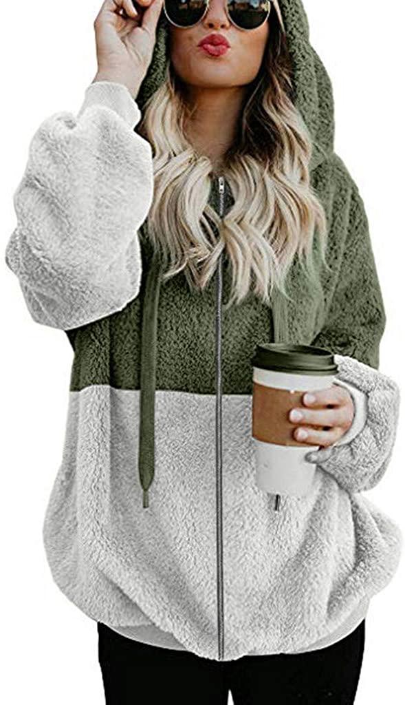 Yinella Women Zip up Colorblock Oversized Sherpa Fuzzy Hoodies Coats Winter Warm Fleece Hooded Sweatshirts Jackets