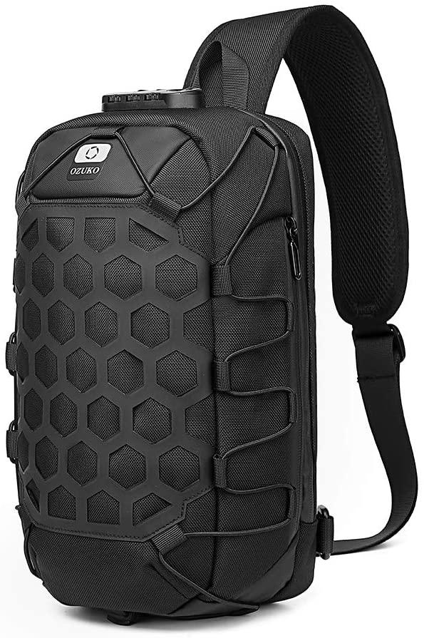 Sling Bag Sling Backpack Crossbody Shoulder bag Waterproof with USB Charging Port Casual Daypacks for Men Women Outdoor Cycling Hiking (Black)