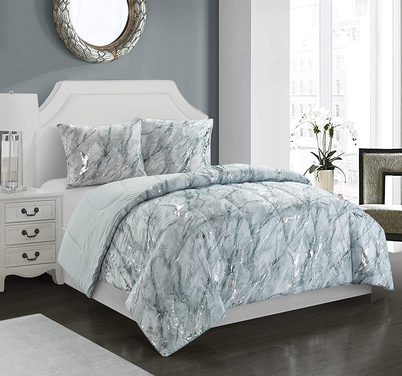 Pop Shop Light Grey Marble with Silver Metallic 3 Piece Comforter Set, Full/Queen