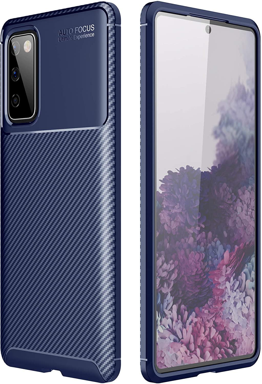 Galaxy S20 FE Case, Futanwei [Ultra Slim] Premium Soft TPU Case for Business Man [Carbon Fiber Lightweight] Minimalist Texture Non-Slip Durable Rubber Cover for Samsung Galaxy S20 FE 2020, Blue