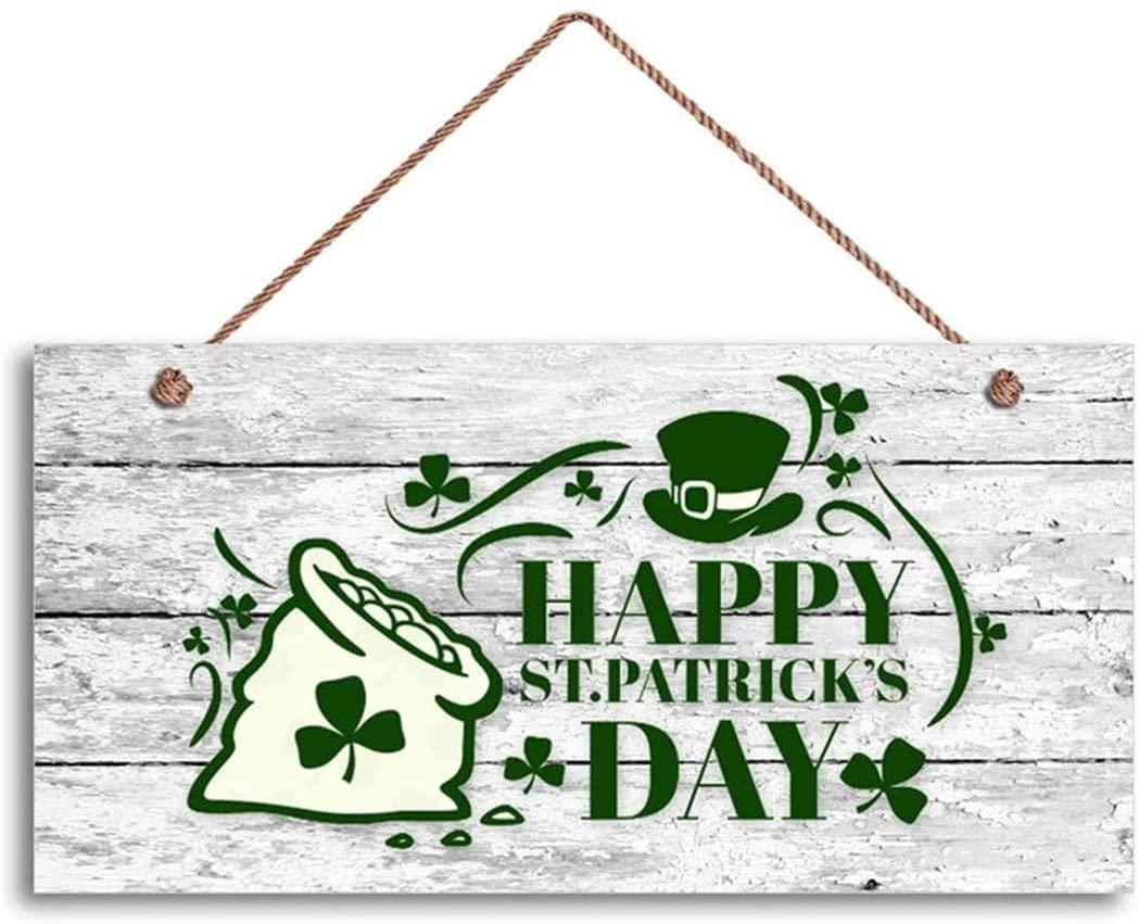 MAIYUAN Happy St. Patrick's Sign, Bag of Gold on Shabby Wood Background, 12X6 Sign, Shamrocks(WE1176)