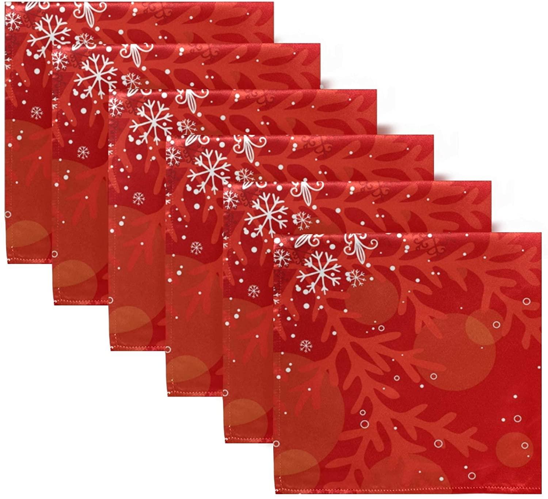senya 20 Inch Cloth Napkins Set of 6, Christmas Snowflake Red Square Premium Polyester Table Linen Napkin for Dinner Parties Christmas