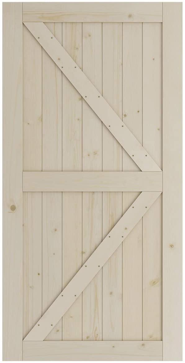 SmartStandard 42in x 84in Sliding Barn Wood Door Pre-Drilled Ready to Assemble, DIY Unfinished Solid Spruce Wood Panelled Slab, Interior Single Door, Natural, K-Frame (Fit 8FT Rail)