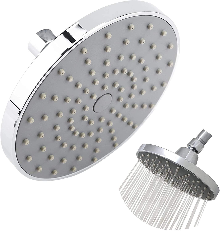 Shower Head 6inch Round High Pressure Rainfall Chrome Plated Top Sprayer Bathroom Accessories Silver 0-80℃