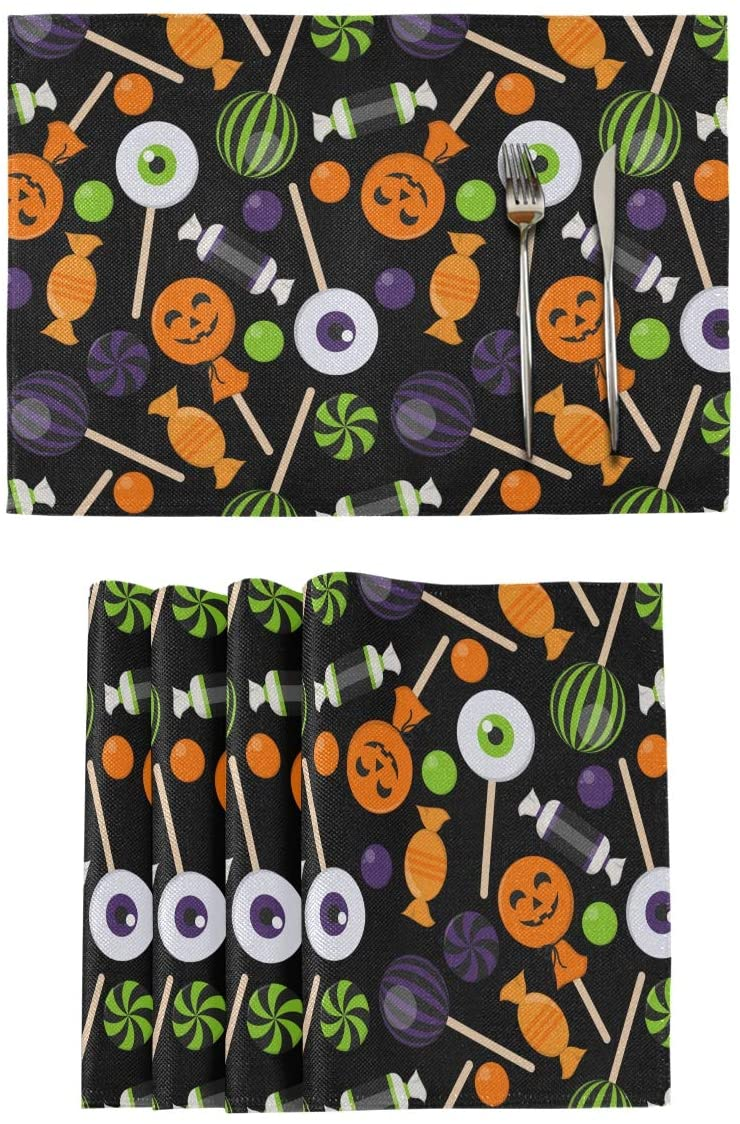 Qilmy Halloween Placemats Non-Slip Heat Resistant Washable Table Mats for Kitchen Dining Table Decor 12
