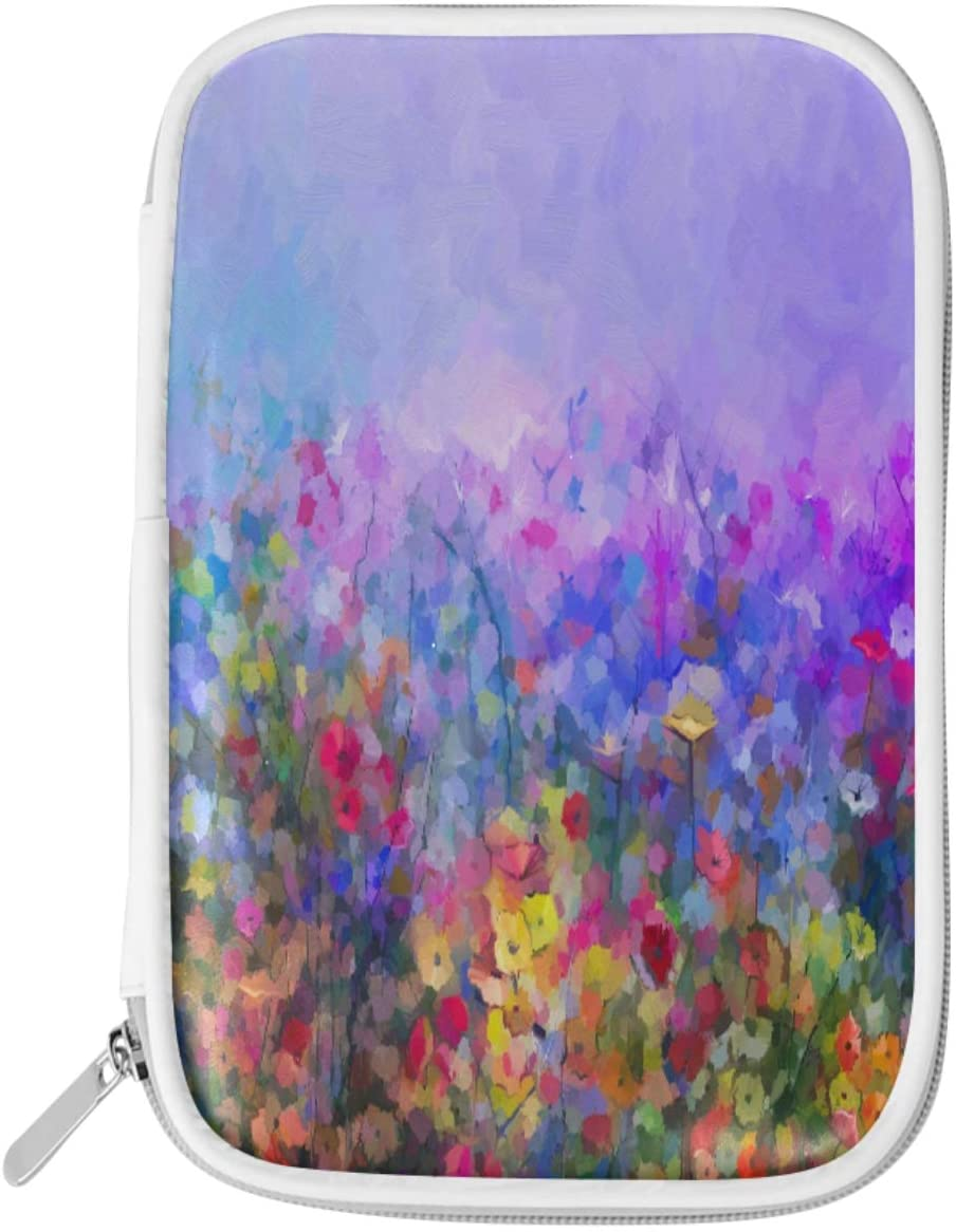 Olinyou Abstract Floral Watercolor Nature Flowers Rainbow Daisy Pen Pencil Case Bags Leather Large Pouch Toiletry Makeup Cosmetic Bag Coin Purse Zipper for Student Boys Girls Adults