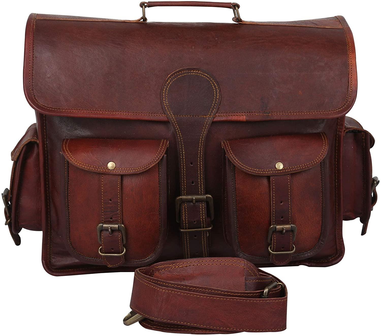 16 Inch Vintage Handmade Leather Messenger Bag for Laptop Briefcase Best Computer Satchel School office Bag - Genuine Buff Leather