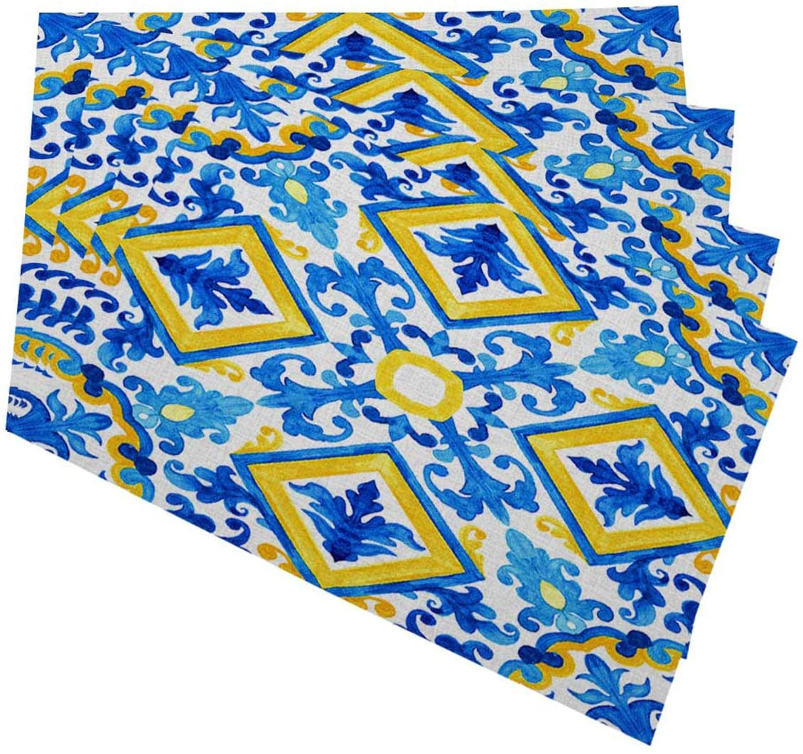 Mugod Portuguese Azulejo Tiles Placemats Blue and Yellow Gorgeous Watercolor Seamless Patterns Decorative Heat Resistant Non-Slip Washable Place Mats for Kitchen Table Mats Set of 4 12