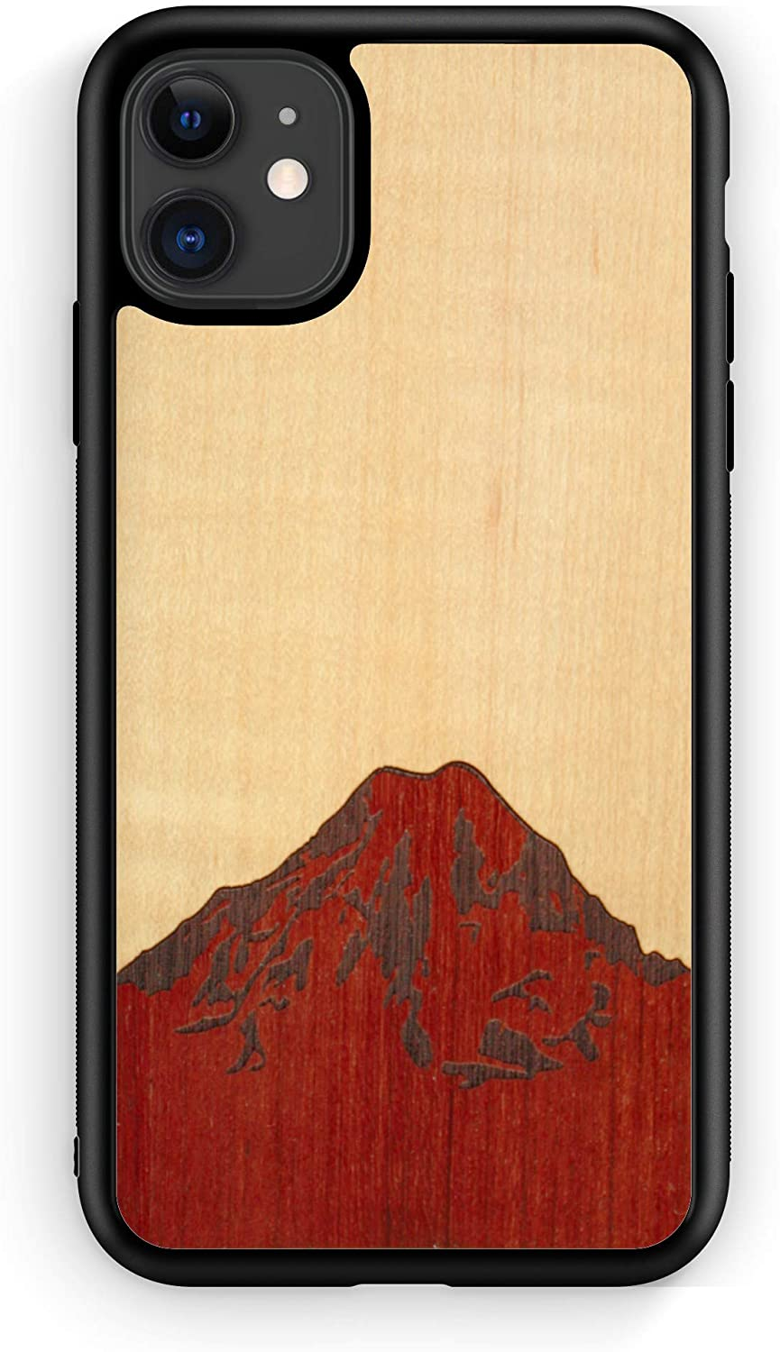 WUDN Mt. Rainier Wooden Phone Case (Mt. Rainier Shimmering Maple Sky) Compatible with iPhone 11, 11